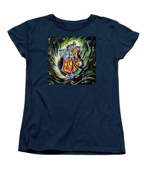 Women's T-Shirt (Standard Cut) featuring the painting Radhe Krishna by Harsh Malik
