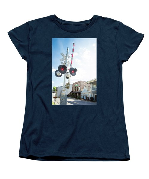Women's T-Shirt (Standard Cut) featuring the photograph Railroad Lights In Old Town Helena by Parker Cunningham