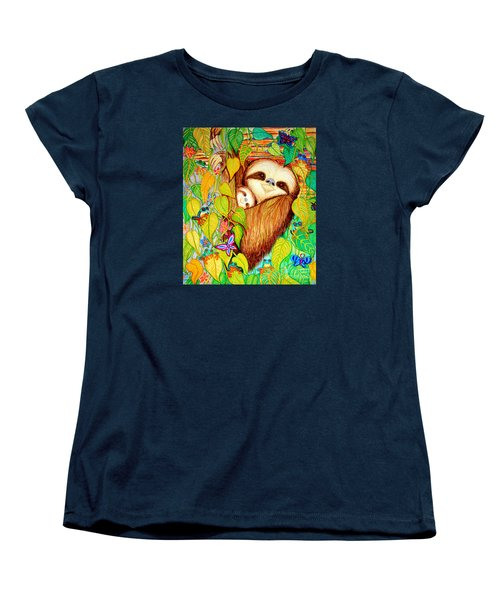 Rain Forest Survival Mother And Baby Three Toed Sloth Women's T-Shirt (Standard Cut) by Nick Gustafson