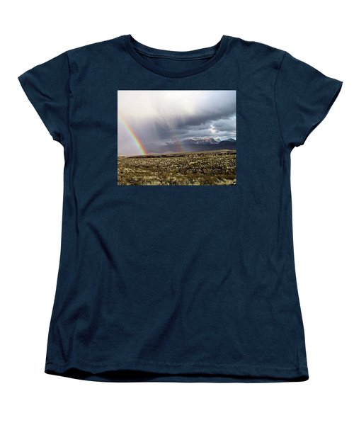 Women's T-Shirt (Standard Cut) featuring the painting Rain In The Desert by Dennis Ciscel