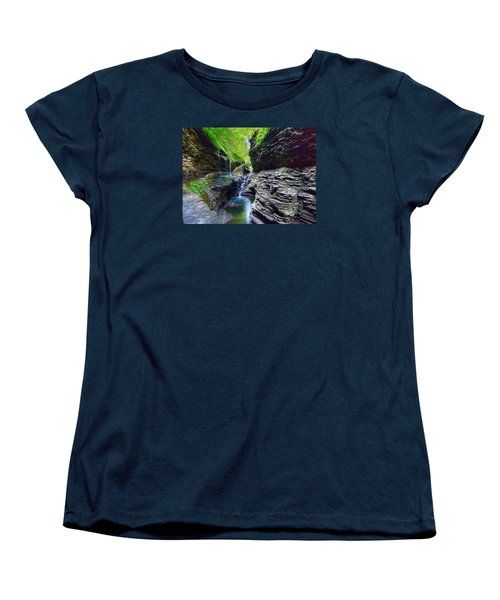 Women's T-Shirt (Standard Cut) featuring the photograph Rainbow Bridge And Falls by Rodney Campbell