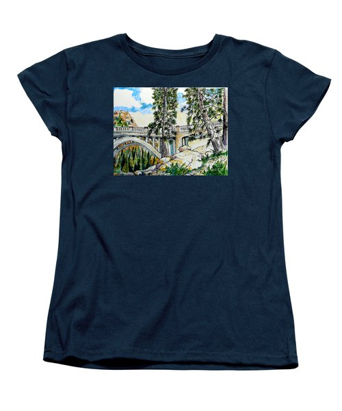 Women's T-Shirt (Standard Cut) featuring the painting Rainbow Bridge At Donner Summit by Terry Banderas