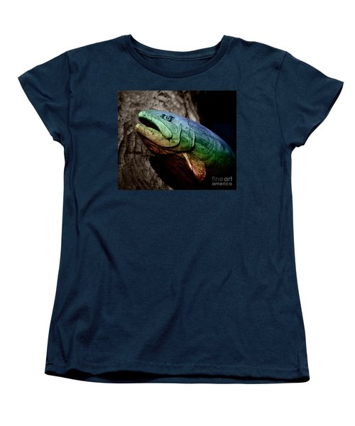 Rainbow Trout Wood Sculpture Square Women's T-Shirt (Standard Cut) by John Stephens