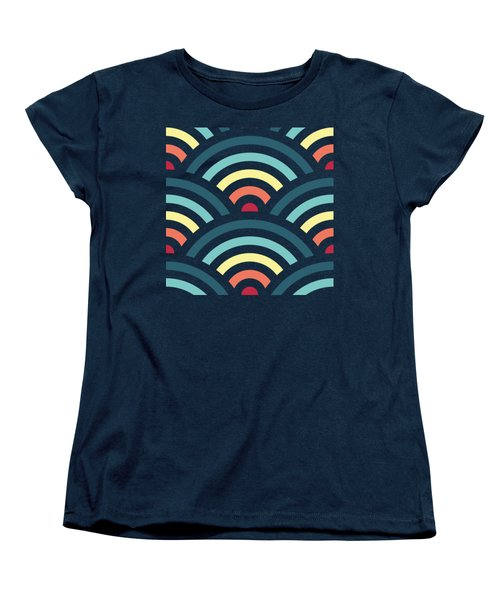 Rainbowaves Pattern Dark Women's T-Shirt (Standard Cut) by Freshinkstain