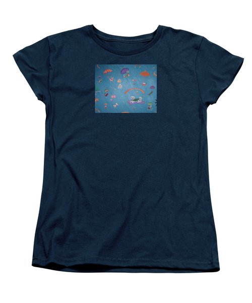 Women's T-Shirt (Standard Cut) featuring the painting Raining Cats And Dogs by Dee Davis