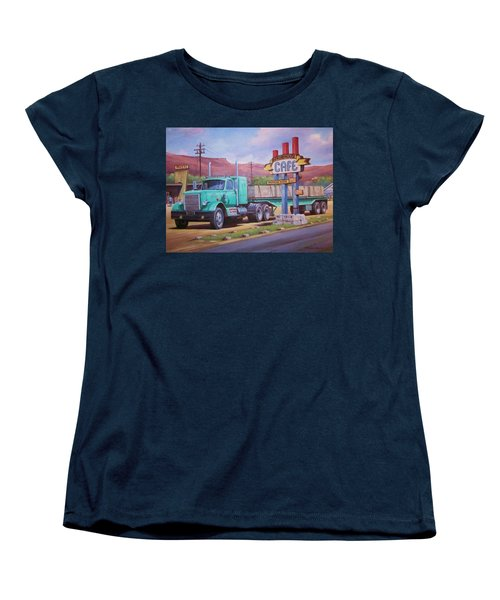 Women's T-Shirt (Standard Cut) featuring the painting Ranch House Truckstop. by Mike Jeffries