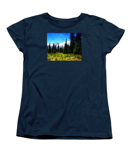 Women's T-Shirt (Standard Cut) featuring the photograph Ranier Mountain Meadow by Timothy Bulone