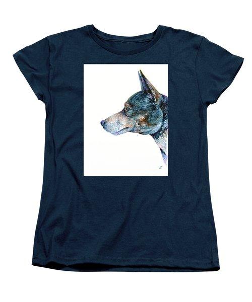 Women's T-Shirt (Standard Cut) featuring the painting Rat Terrier by Zaira Dzhaubaeva