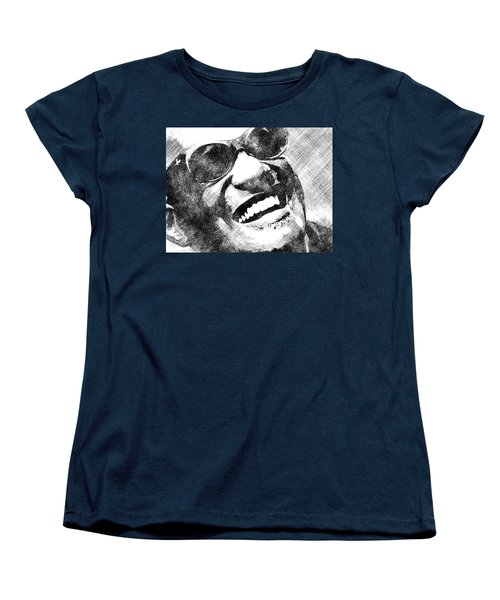 Ray Charles Bw Portrait Women's T-Shirt (Standard Cut) by Mihaela Pater