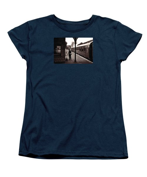 Women's T-Shirt (Standard Cut) featuring the photograph Ready To Depart Corfe Castle Station by Nop Briex