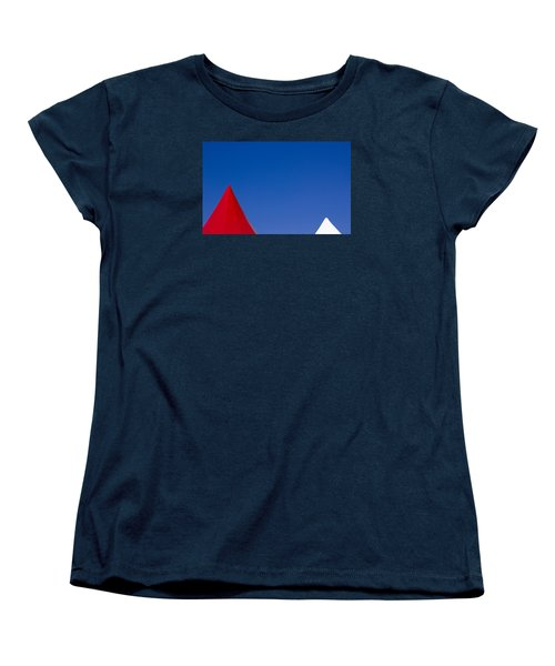 Women's T-Shirt (Standard Cut) featuring the photograph Red And White Triangles by Prakash Ghai