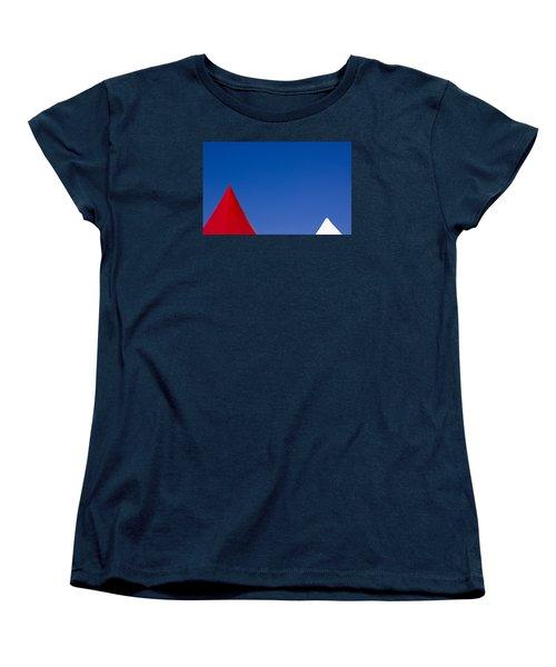 Red And White Triangles Women's T-Shirt (Standard Cut) by Prakash Ghai