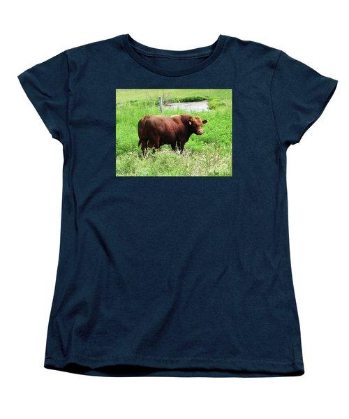 Women's T-Shirt (Standard Cut) featuring the photograph Red Angus Bull by J L Zarek