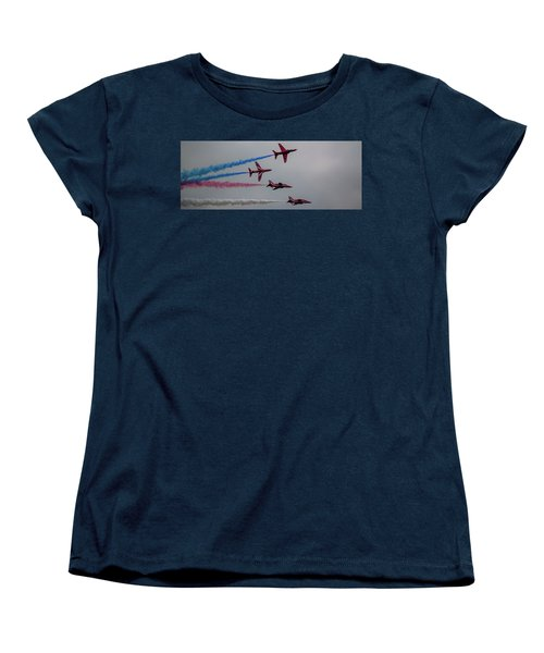 Women's T-Shirt (Standard Cut) featuring the photograph Red Arrows Break Off - Teesside Airshow 2016 by Scott Lyons