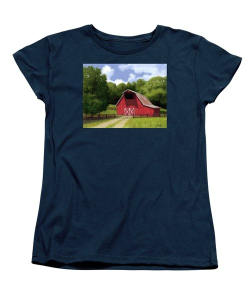 Women's T-Shirt (Standard Cut) featuring the painting Red Barn In Franklin Tn by Janet King