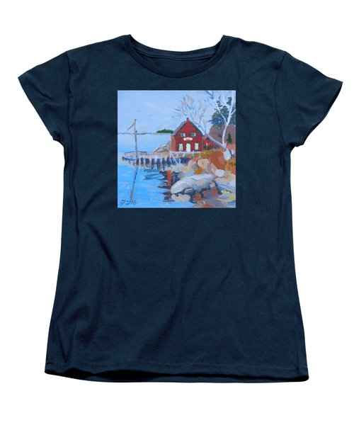 Women's T-Shirt (Standard Cut) featuring the painting Red Boat House by Francine Frank