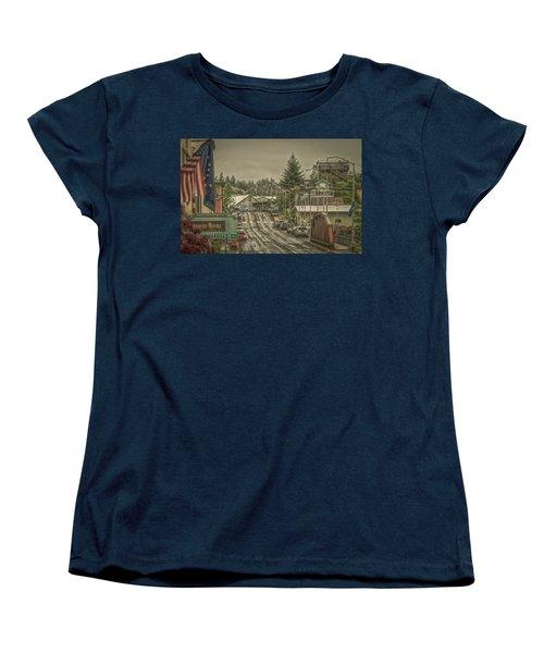 Women's T-Shirt (Standard Cut) featuring the photograph Red Bridge Haze by Timothy Latta