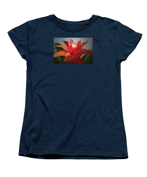 Red Bromeliad Bloom. Women's T-Shirt (Standard Cut) by Terence Davis