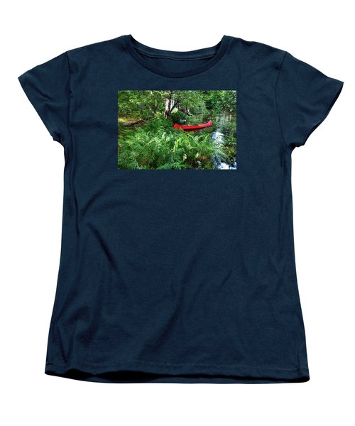 Red Canoe In The Adk Women's T-Shirt (Standard Cut) by David Patterson