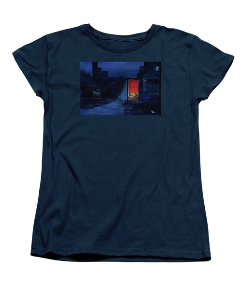 Women's T-Shirt (Standard Cut) featuring the painting Red Curtain by Anil Nene