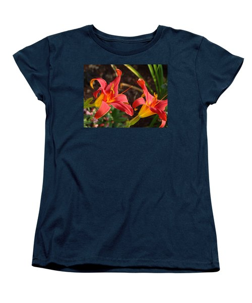 Red Daylilies Women's T-Shirt (Standard Cut) by Rebecca Overton