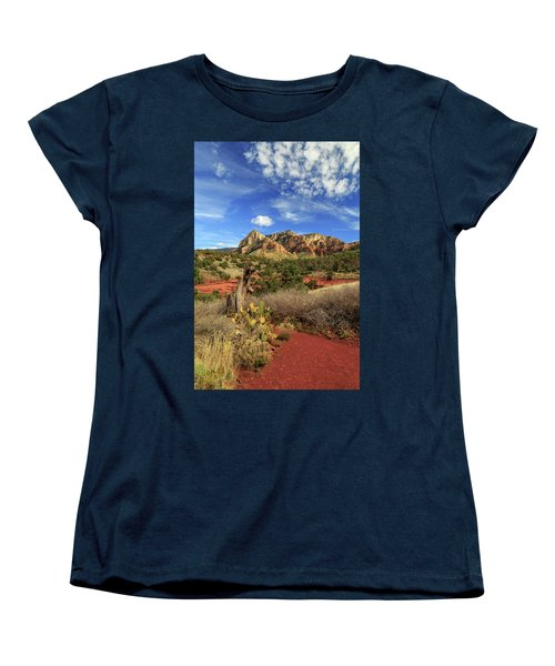 Women's T-Shirt (Standard Cut) featuring the photograph Red Dirt And Cactus In Sedona by James Eddy