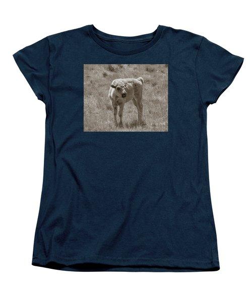 Women's T-Shirt (Standard Cut) featuring the photograph Red Dog Buffalo Calf by Rebecca Margraf