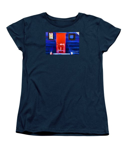 Women's T-Shirt (Standard Cut) featuring the photograph Red Door Harbor by Rick Bragan