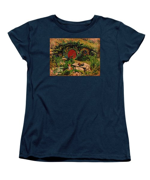 Women's T-Shirt (Standard Cut) featuring the digital art Red Door Hobbit House With Corgi by Kathy Kelly