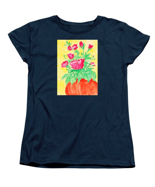 Red Flowers In A Brown Vase Women's T-Shirt (Standard Cut) by Jose Rojas