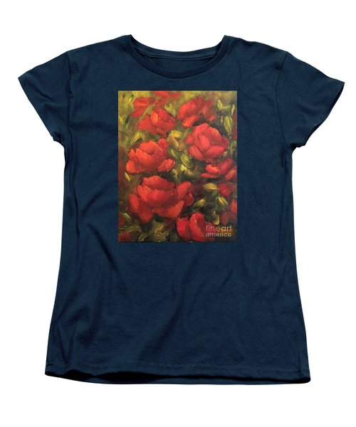 Women's T-Shirt (Standard Cut) featuring the painting Red Flowers by Inese Poga