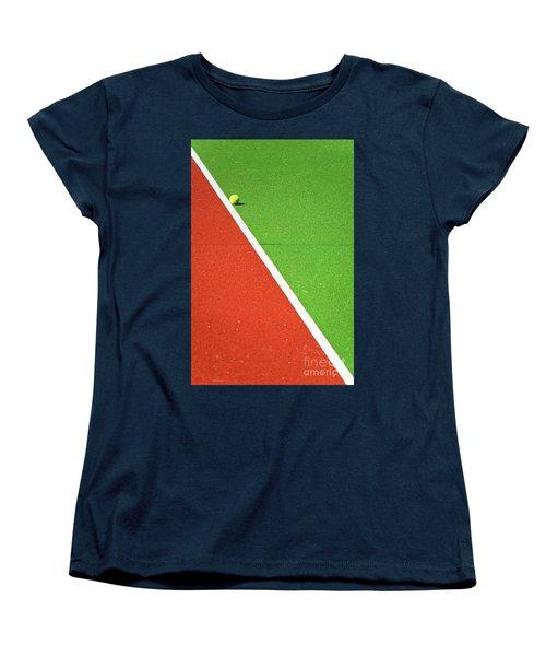Red Green White Line And Tennis Ball Women's T-Shirt (Standard Cut) by Silvia Ganora