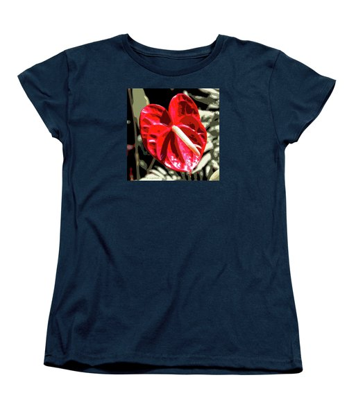 Women's T-Shirt (Standard Cut) featuring the digital art Red Heart by Kerri Ligatich