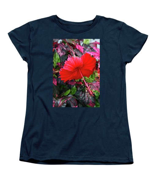 Red Hibiscus  Women's T-Shirt (Standard Cut) by Inspirational Photo Creations Audrey Woods