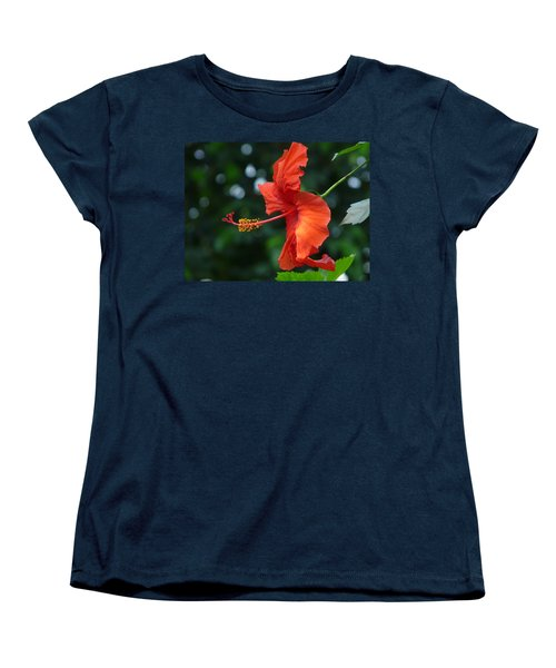 Red Hibiscus Women's T-Shirt (Standard Cut) by Valerie Ornstein