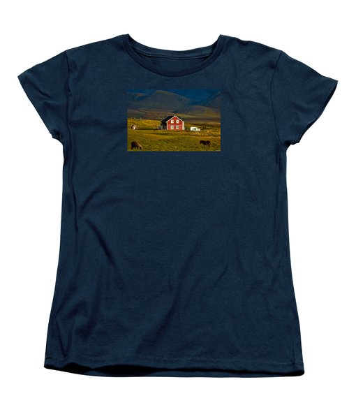 Red House And Horses - Iceland Women's T-Shirt (Standard Cut) by Stuart Litoff