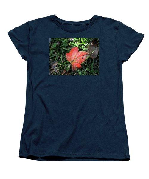 Red Leaf Against Green Grass Women's T-Shirt (Standard Cut) by Michele Wilson