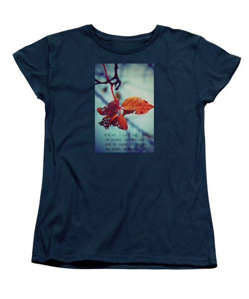 Red Leaf Women's T-Shirt (Standard Cut) by Artists With Autism Inc