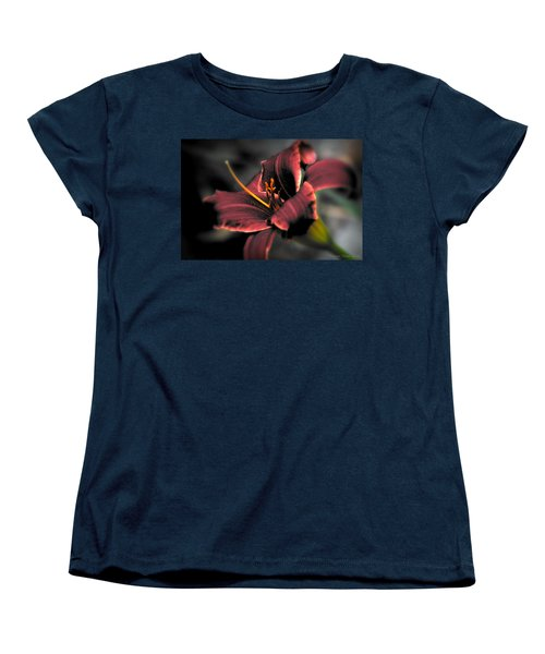 Red Lilly2 Women's T-Shirt (Standard Cut) by Michaela Preston