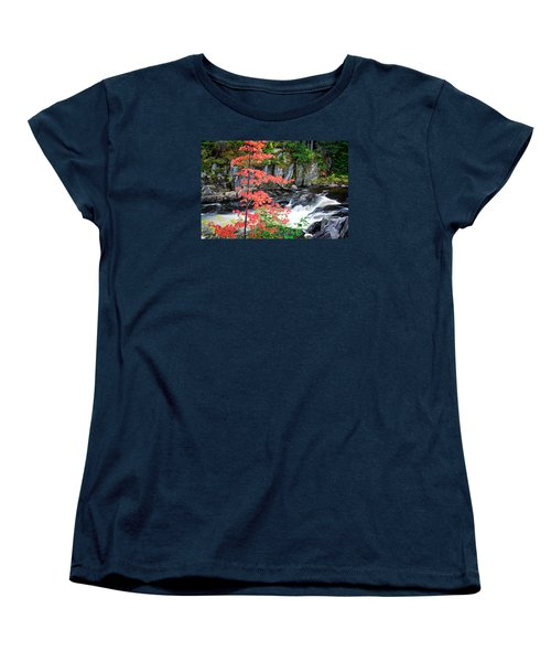 Red Maple Gulf Hagas Me. Women's T-Shirt (Standard Cut) by Michael Hubley