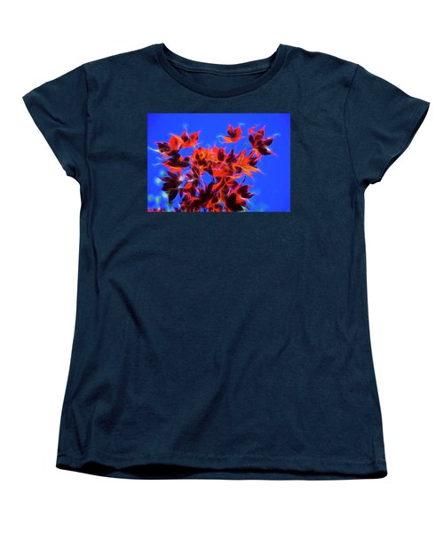 Women's T-Shirt (Standard Cut) featuring the photograph Red Maple Leaves by Yulia Kazansky