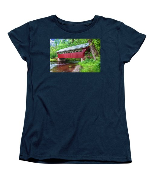 Red Mill Covered Bridge Women's T-Shirt (Standard Cut) by Trey Foerster