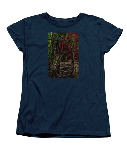 Women's T-Shirt (Standard Cut) featuring the photograph Red Mill Decayed Wheel by Trey Foerster