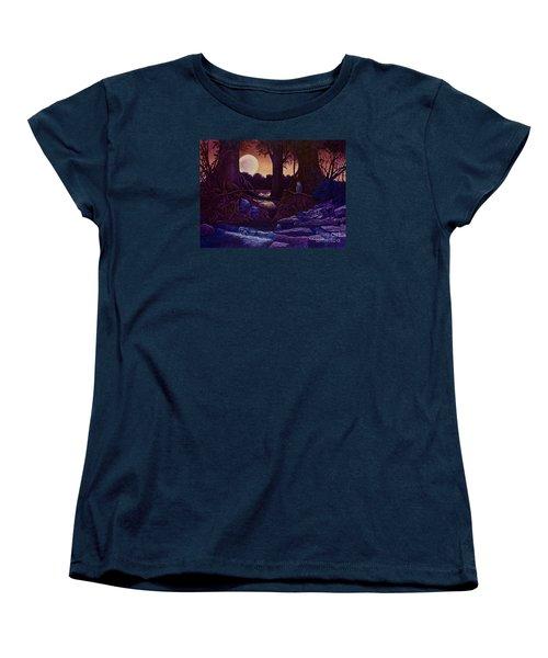 Red Moon Women's T-Shirt (Standard Cut) by Michael Frank
