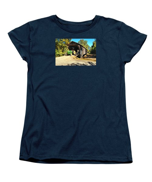 Red Oak Creek Covered Bridge And Tractor Women's T-Shirt (Standard Cut) by James Potts