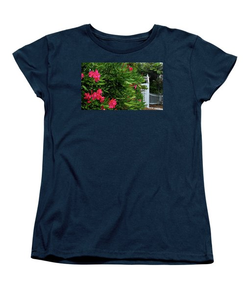 Women's T-Shirt (Standard Cut) featuring the photograph Red Oleander Arbor by Marie Hicks