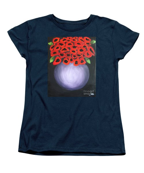 Women's T-Shirt (Standard Cut) featuring the painting Red Poppies  by Jolanta Anna Karolska