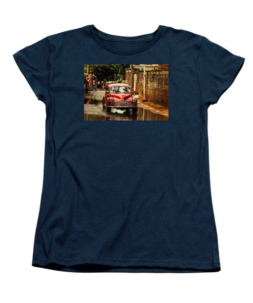 Red Retromobile. Morris Minor Women's T-Shirt (Standard Cut) by Jenny Rainbow
