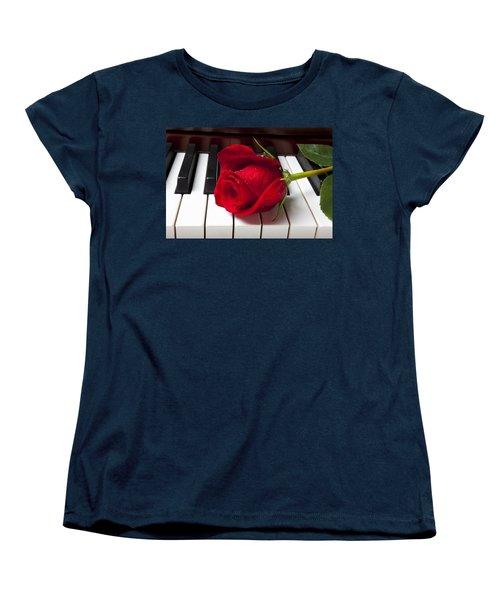 Red Rose On Piano Keys Women's T-Shirt (Standard Cut) by Garry Gay
