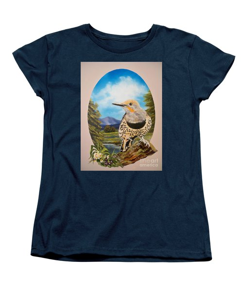 Women's T-Shirt (Standard Cut) featuring the painting Red Shafted Flicker by Sigrid Tune